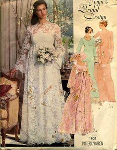 Vintage 70s Vogue Bridal Design Wedding Dress Pattern No. 1702 Size 10. $15.00, via Etsy.