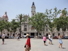 City Townhall of Valencia at the biggest square in the city. Plaza del Ayuntamiento.