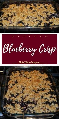 This blueberry crisp recipe is a standby in my house. It is one of my favorite easy to make dessert recipes, Desserts Blueberry Crisp Recipe Easy To Make Desserts, Köstliche Desserts, Healthy Desserts, Delicious Desserts, Dessert Recipes, Frozen Blueberry Recipes, Recipes With Frozen Blueberries, Blueberry Cobbler Recipes, Recipes