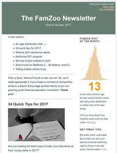 The end of January FamZoo monthly newsletter featuring: an age distribution stat; 34 quick money tips for 2017; how to silence 2am allowance alerts; why you should authorize your kids' DIY projects; service bucks instead of stuff; shout-outs for Matthew E., JB Noland, and EJ; and winning parting words from Coach Vince.