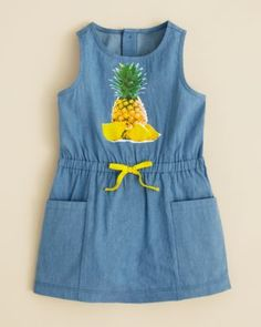 Bloomie's Girls' Pineapple Chambray Dress - Sizes 2T-4T | Bloomingdale's