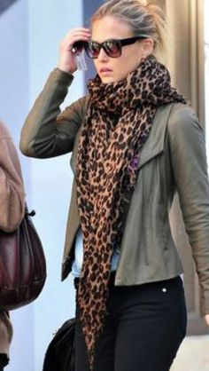 """""""leopard scarf"""" leopard print has been pretty popular for awhile now, but it is especially popular when it comes to accessories. Leopard print scarves and shoes seem to be theist popular and I don't see this as being just a fad. -Adair M."""