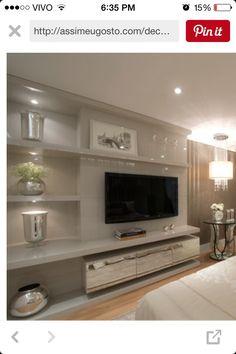 Sala Modern Tv Room, Living Room Modern, Home Living Room, Living Room Designs, Tv In Bedroom, Bedroom Decor, Bedroom Furniture Inspiration, Furniture Ideas, Living Room Wall Units
