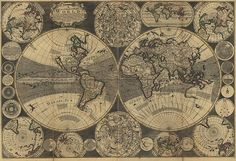 World Map of 1709 by Herman Moll.  Laid down according to the newest observations & discoveries.  Vintage reproduction print.