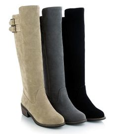 Trendy knee high casual riding buckle heel boots for the modern woman Unique buckles at top offer an edgy look Comfortable breathable upper Made from PU 40 cm shoe height 5 cm heel height Available in 3 colors Stylish Boots For Women, Cute Casual Shoes, Shoes For Less, Rangers, Shoe Gallery, Platform Boots, Dress With Boots, Mid Calf Boots, Heel Boots