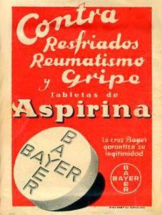 El primer producto importante de Bayer fue el ácido acetilsalicílico (originalmente descubierto por el químico francés Charles Frédéric Gerhardt en 1853), una modificación del ácido salicílico o de la salicina, un popular remedio presente en la corteza del sauce. En 1899, la marca Aspirina de Bayer fue registrada en todo el mundo para el ácido acetilsalicílico de Bayer que Felix Hoffmann sintetizó por primera vez.. Pub Vintage, Vintage Labels, Vintage Cards, Vintage Travel, Vintage Signs, Vintage Images, Vintage Advertising Posters, Old Advertisements, Vintage Medical