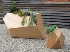 planters geometric vases Backyard Planters, Wooden Planters, Planter Boxes, Backyard Ideas, Modern Landscaping, Outdoor Landscaping, Landscape Elements, Landscape Design, Urban Landscape