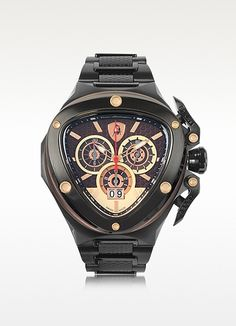 Tonino Lamborghini Spyder Black Stainless Steel Chrono #watch #tonino #lamborghini