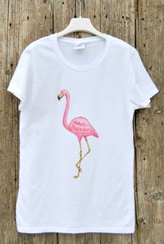 Flamingo shirt woman handpainted top tee, Unique Tshirt art clothes for girls and woman with pink flamingo Size S small for woman by KatiaFabricStudio on Etsy
