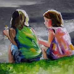 Curbside Discussion, Figurative Art by Texas Artist Laurie Pace, painting by artist Laurie Justus Pace