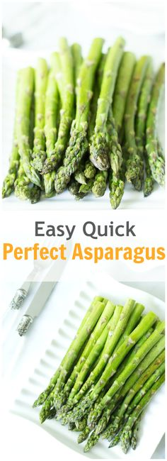 This easy quick roasted asparagus in the oven is delicious and full of flavour. In minutes, you have a healthy and delicious side dish on the table. primaverakitchen.com