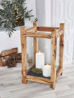 Reclaimed Wood Candle Lantern - XL - Nordic House