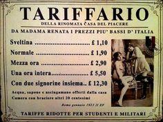 Internet das Coisas!!!: Tabela de preços de um bordel de Roma - 1923