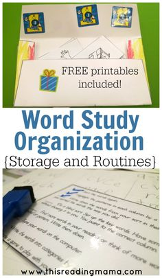 Word Study Organization for Storage and Routines - Includes FREE printables for storing word sorts and managing the daily routines of Word Study | This Reading Mama