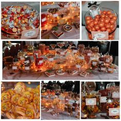 Beautiful Fall Themed Candy Buffet from Sweet Chicks Candy! Inspired to make your own orange candy buffet? Check out our selection of orange sweets at https://www.candy.com/Orange_c_20.html
