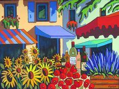 Marché de Provence - Louise Marion, artiste peintre, paysage urbain, Quebec, couleurs