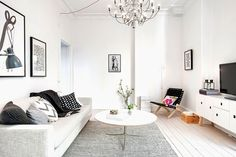Swedish apartment in white and grey