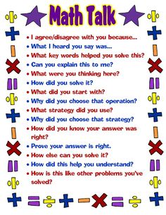 Free printable #math talk poster... great for students (and teachers!) to look at for help with speaking math!