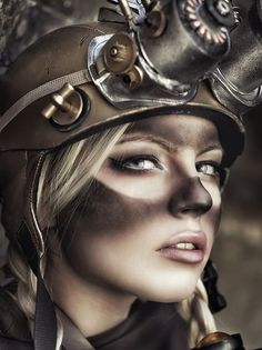 Steampunk Makeup Guide - Tutorial for Coal miner with dirty goggle marks, how to DIY this technique - For costume tutorials, clothing guide, fashion inspiration photo gallery, calendar of Steampunk events, & more, visit SteampunkFashionGuide.com