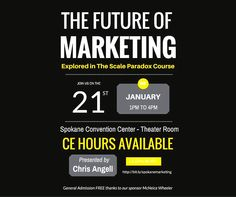 Come join us tomorrow at the INB Performing Arts Center, Theater Room, for a free Chris Angell seminar on the future of marketing, sponsored by McNeice Wheeler.  #INBPerformingArtsCenter #ChrisAngell #TheScaleParadox