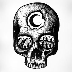 STANLEY DUKE tattoo design tattoos illustration dotwork linework blackwork stippling black landscape skull