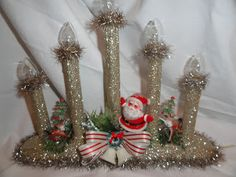 holidays in july glittery daze and nights: Christmas In July Swap Christmas Candles, Christmas Centerpieces, Christmas In July, Christmas Decorations, Stick Decorations, Mary Christmas, Vintage Decorations, Vintage Ornaments, Vintage Christmas Crafts
