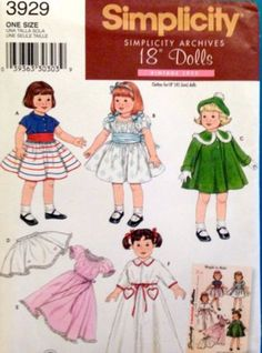 Simplicity-3929-Doll-Clothes-18-034-Coat-Hat-Robe-Nightgown-Petticoat-Dress-Pattern