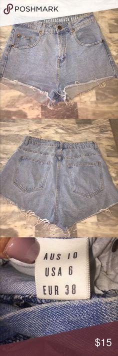 Flashback high rise shorts Light wash distressed high waisted shorts! Cotton On Shorts