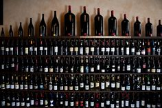 A full shot of our wine wall...400 amazing wines available by the bottle!