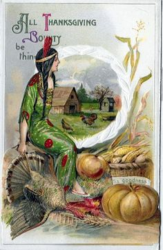 All Thanksgiving Bounty be thine, a vintage postcard by Samuel L.