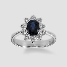 Blue Oval Sapphire and Diamond Ring, 14K White Gold