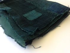 Antique Japanese Indigo and Green handwoven Boro by Folkworkgoods