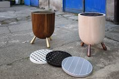 """MANGAL Stool & Side Table Their latest collection """" Mangal """" which literally means barbecue in Turkish. Turn an everyday object and transform it into an object with totally different function. Although """" Mangal """" suggests an object of heating and cooking, it offers a comfortable resting place with storage place in the interior.  Final touch of """" Mangal """" is its inter-changeable grill inspired from another daily object which is the regular fabric patterns."""