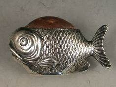 Early 20th Century Novelty Antique Silver Fish Pin Cushion