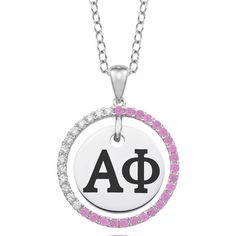 """#AlphaPhi Sterling Silver CZ Circle Necklace (Chain Length is 16"""" with a 2"""" Extender) $99.00 Available at ANDREW GALLAGHER JEWELERS, NEWARK, DELAWARE (302) 368-3380"""