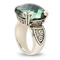 Love the green stone Prasiolite cocktail ring, 'Glistening Borobudur' by NOVICA Diy Jewelry Rings, Jewelry Accessories, Jewelry Design, Big Rings, Sterling Silver Jewelry, Silver Jewellery, Unique Rings, Cocktail Rings, Borobudur