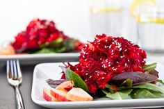 Spring Clean Raw Beet, Carrot, and Apple Salad. I LOVE this salad! If you've never had raw beets before they are really, really delicious. Apple Salad Recipes, Raw Food Recipes, Veggie Recipes, Vegetarian Recipes, Healthy Recipes, Raw Beets, Beet Salad, Carrot Salad, Clean Eating