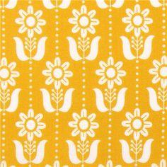 mustard Cloud 9 organic fabric Folky Daisy Grey Abbey organico 6,71