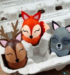 DIY woodland animal Easter egg - egg painting tutorial // Erdei állatok - egyedi húsvéti tojás festés (lépésről-lépésre) // Mindy - craft tutorial collection // #crafts #DIY #craftTutorial #tutorial