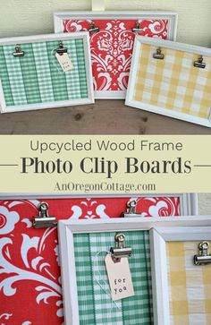 How to make quick and easy photo boards with clips from thrifted upcycled wood frames (or Dollar Store frames) and fabric for birthdays Christmas weddings and more. Works for both kids and adults! Craft Projects For Adults, Diy Crafts For Adults, Diy Craft Projects, Upcycling Projects, Adult Crafts, Photo Projects, Quick And Easy Crafts, Easy Diy Gifts, Crafts To Make And Sell