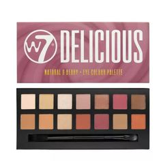 Delicious is an on-trend, vibrant eye colour palette featuring a range of 14 shades. A combination of nudes to browns, pinks to plums and creams to oranges W7 Palette, W7 Eyeshadow Palette, Peach Palette, Liquid Eyeshadow, Makeup Palette, Anastasia Beverly Hills, Top Makeup Brands, W7 Cosmetics, Blusher Brush