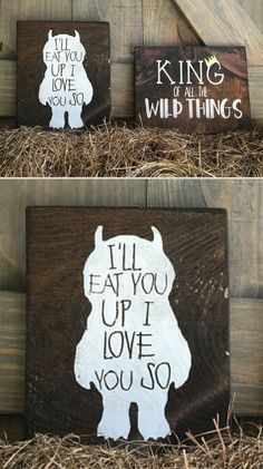 "Set of 2 wood signs inspired by ""Where the Wild Things Are"" 