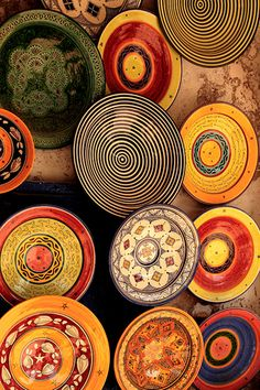 Moroccan dishware with a variety of designs colors, but flows well together Looks too pretty to eat out of! Click the link to visit our site Moroccan Decor, Moroccan Style, Moroccan Colors, Moroccan Plates, Morrocan Interior, Moroccan Dishes, Ceramic Pottery, Ceramic Plates, Textures Patterns