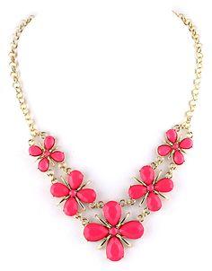 collier en chaîne à motif fleurs -rouge