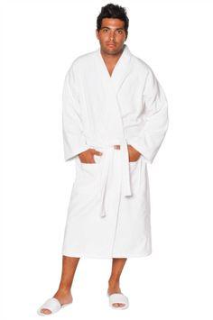 100% Turkish Cotton Adult Terry Velour Kimono Robe - White - Adult - One Size