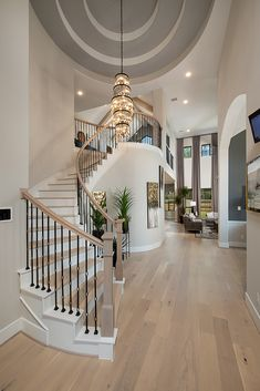 Westin Homes has been a leader among Houston homebuilders, offering the very best in quality and design. Luxury Homes Dream Houses, Dream House Interior, Dream Home Design, My Dream Home, Foyer Design, Staircase Design, Curved Staircase, Spiral Staircases, Westin Homes