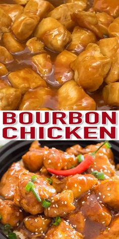 Spicy Bourbon Chicken [Video] - Sweet and Savory Meals Spicy Bourbon Chicken is perfectly sweet, sticky and spicy, made in just one pan for a quick weeknight dinner with tasty leftovers. Spicy Recipes, Healthy Chicken Recipes, Asian Recipes, Beef Recipes, Cooking Recipes, Chicken Meals, Easy Bourbon Chicken Recipe, Chicken Sauce, Chicken Pasta