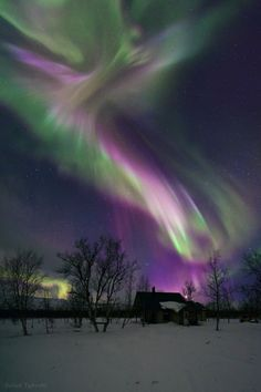 "This is one of my favorites because it is so magical looking. - ""Aurora Angel"" ~ A magical aurora display over a small Sami village in the Arctic region of northern Sweden ~ Photo by Babak A. Tafreshi"