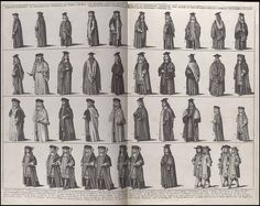 An early version of Where's Waldo? No, the early academic garments of Oxford. Call me crazy, but all look almost alike.