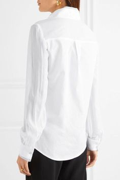 White cotton-poplin, silk-chiffon and faille Partially concealed button fastenings through front 100% cotton; trim1: 100% silk; trim2: 55% rayon, 45% viscose Dry clean